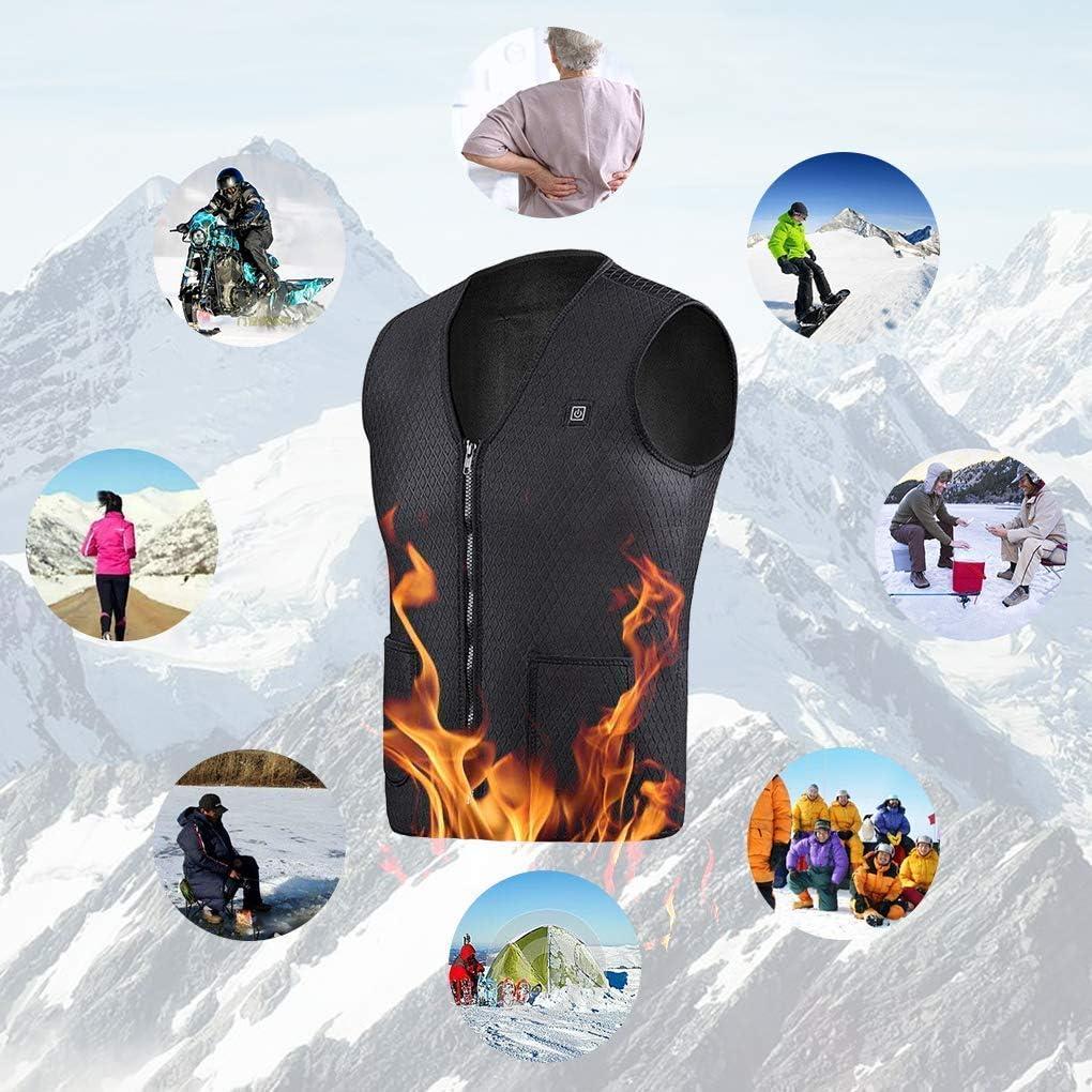 Chauds Gilet Chauff/é pour Activit/és de Plein Air Chasse Randonn/ée en Ski P/êche Camping XL Winzwon Chauffant Homme et Femmes Chargement USB Hiver V/êtement Chauffant 3 Contr/ôle de la Temp/érature