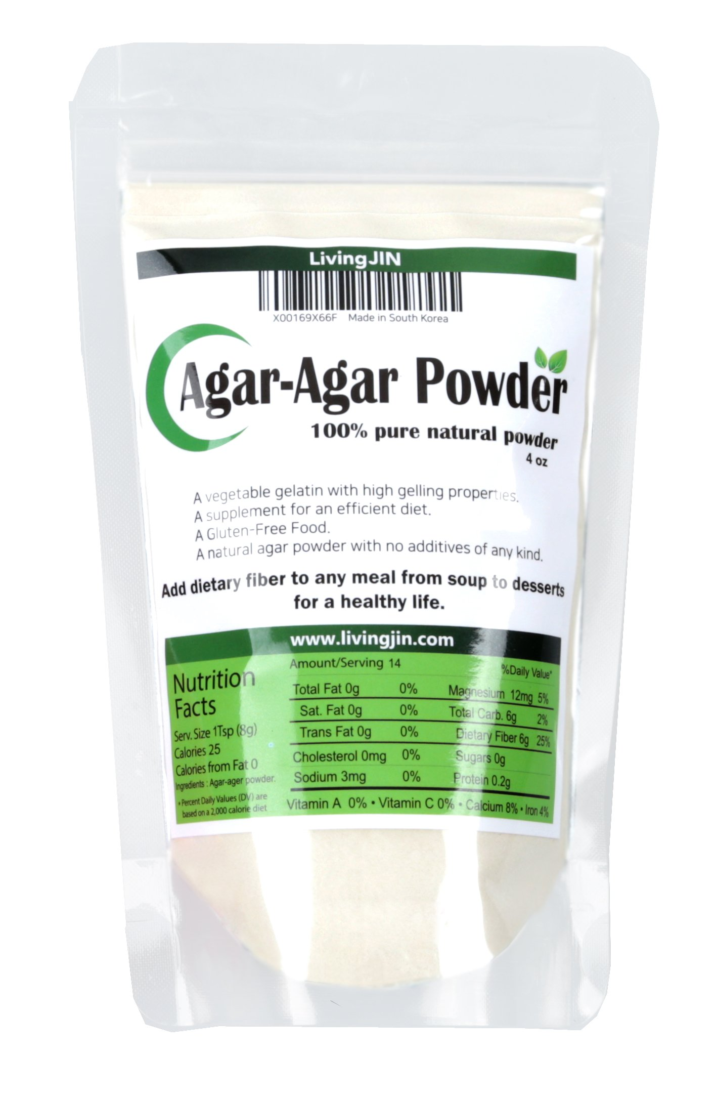 Agar Agar Powder, vegan gelatin with Dietary Fiber [100% Natural & Pure jello, 4oz]