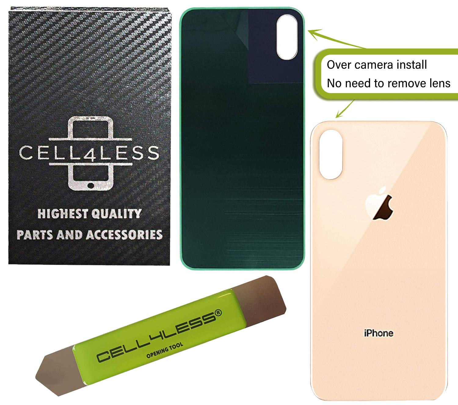 CELL4LESS Back Glass Replacement Compatible w/The iPhone Xs Including Wide Camera Hole, Adhesive & Removal Tool (Gold) by Cell4Less