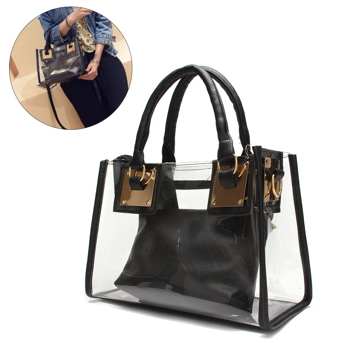 Clear Crossbody Handbags, OURBAG Fashion Women's Waterproof Clear Handbag Top Handle Shoulder Bag Transparent Purse Black