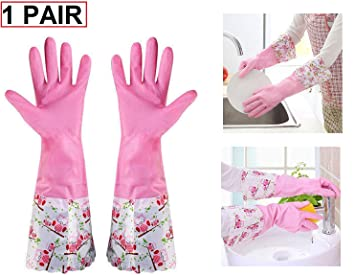 cheap prices look out for shop Lukzer 1 Pair Waterproof Reusable Hand Gloves for Kitchen Cleaning Latex  Rubber (Pink) Design May Vary