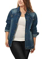 Agnes Orinda Women's Plus Size Stitching Button Front Washed Denim Jacket