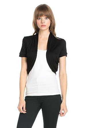 f678b88fdd91e Fashion Secrets Women's Pleated Sides Short Sleeves Rayon Bolero Shrug  Cardigan (Small, Black)