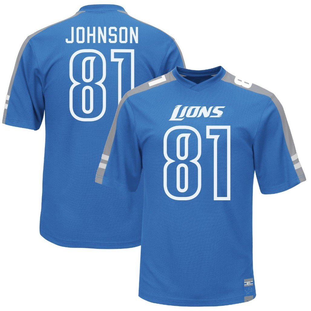 new products b5bec 3a5c8 VF Detroit Lions Calvin Johnson #81 Majestic Mens Hashmark Jersey Blue Big  & Tall Sizes