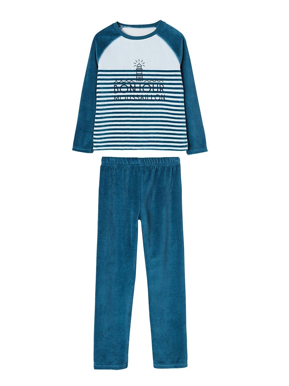 Vertbaudet Jungen Samt-Pyjama Ohne Fuß