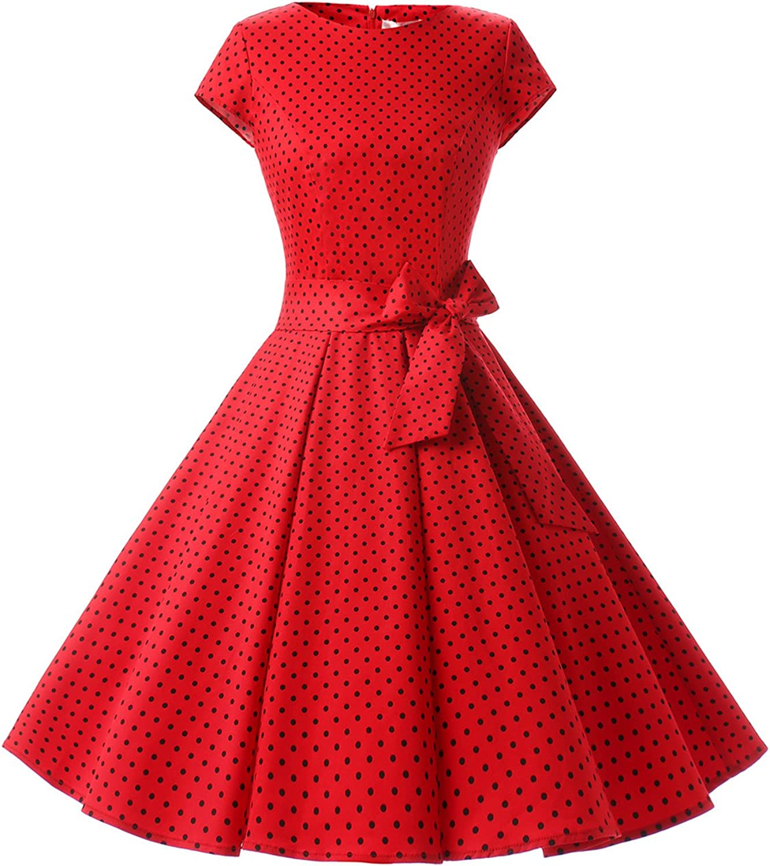 TALLA M. Dressystar Vestidos Coctel Corto Vintage 50s 60s Manga Corta Rockabilly Elegante Mujer Red Black Dot A