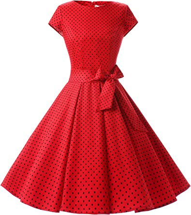 TALLA S. Dressystar Vintage 1950s Polka Dot and Solid Color Prom Dresses Cap-Sleeve Red Black Dot A