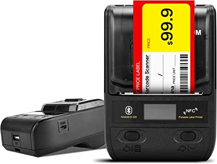 NETUM Label Printer Portable Bluetooth Thermal Label Maker with Rechargeable Battery, Apply to Labeling, Shipping, Office, Cable, Retail, Barcode and ...