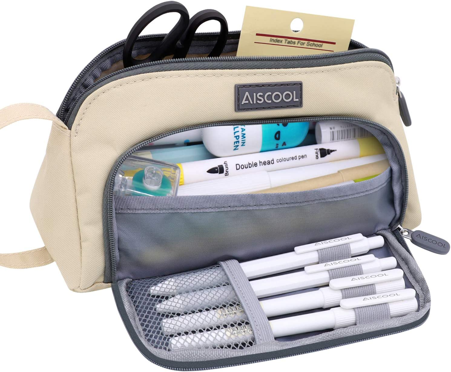 Aiscool Big Capacity Pencil Case Bag Pen Pouch Holder Large Storage Stationery Organizer for School Supplies Office College Teen (Khaki)