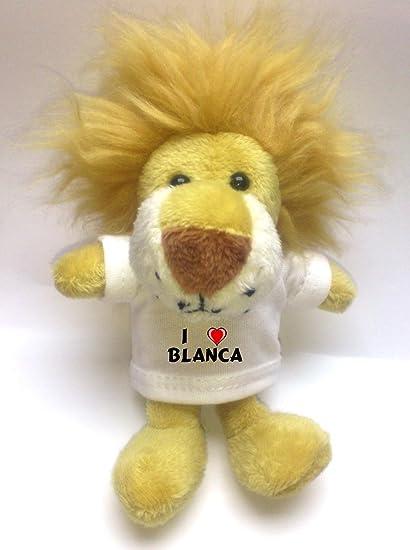 León de peluche (llavero) con Amo Blanca en la camiseta (nombre de pila