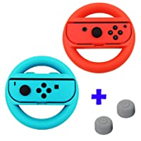 Qumox Steering Wheel Controller Case Handle Grip L+R Travel Holder Case set - Red/Blue & Thumb Grip Stick Covers set - Gray For Nintendo Switch Joy-Con