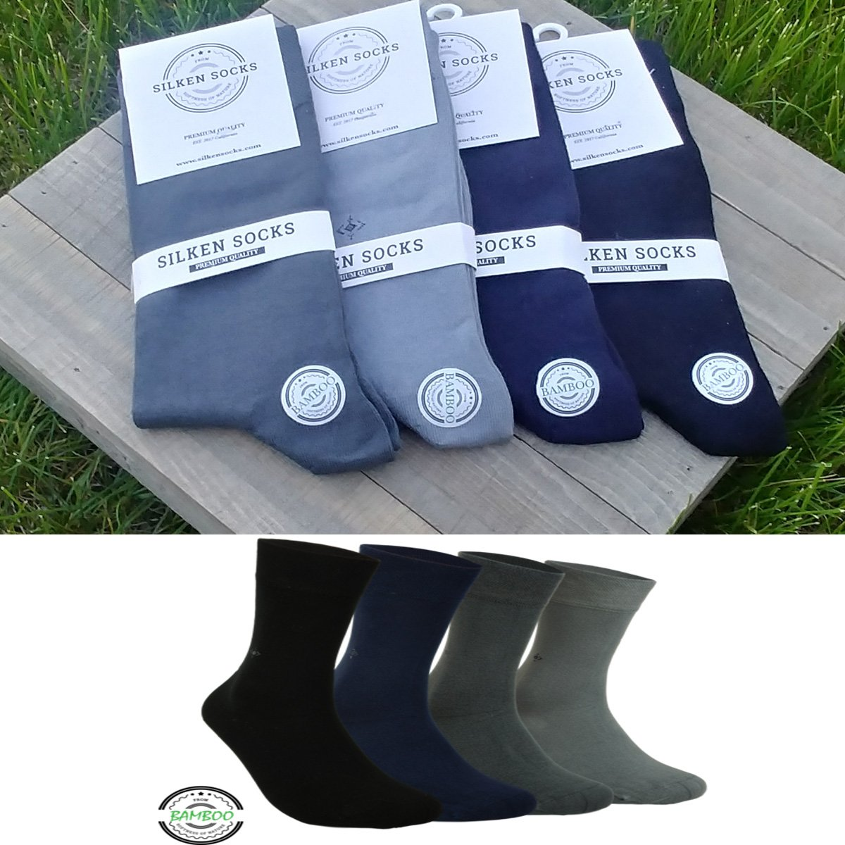 Mens Natural BAMBOO SOCKS - 4 Pair, Antibacterial, Scented, Cashmere Touch (2)