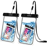 Newppon Waterproof Cell Phone Pouch :IPX8 Universal Dry Bag for iPhone Xs Max XR XS X 8 7 6S Plus Samsung Galaxy S9 S9+ S8 S8+ Note 8 6 5 4 Pixel 3 XL 2 LG V20 with Slim Case (2-Pack)