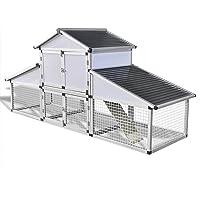 vidaXL Chicken Coop with Runs and 1 Nest Box Aluminium Cage Hutch Outdoor