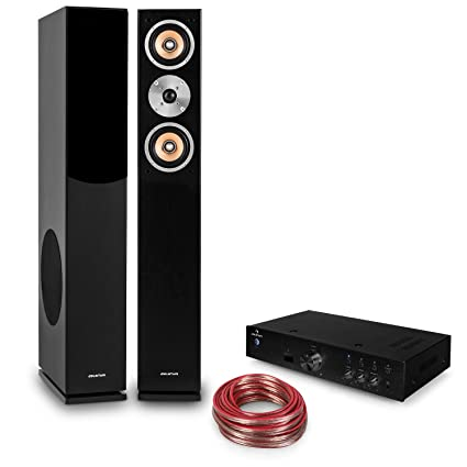 auna HiFi Set Brilliant Black Amplificador HiFi y Altavoces Torre (2X Altavoz pasivo de 3