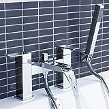 iBathUK   Modern Waterfall Bath Filler Mixer Tap with Bathroom Hand Held Shower Head TB3109