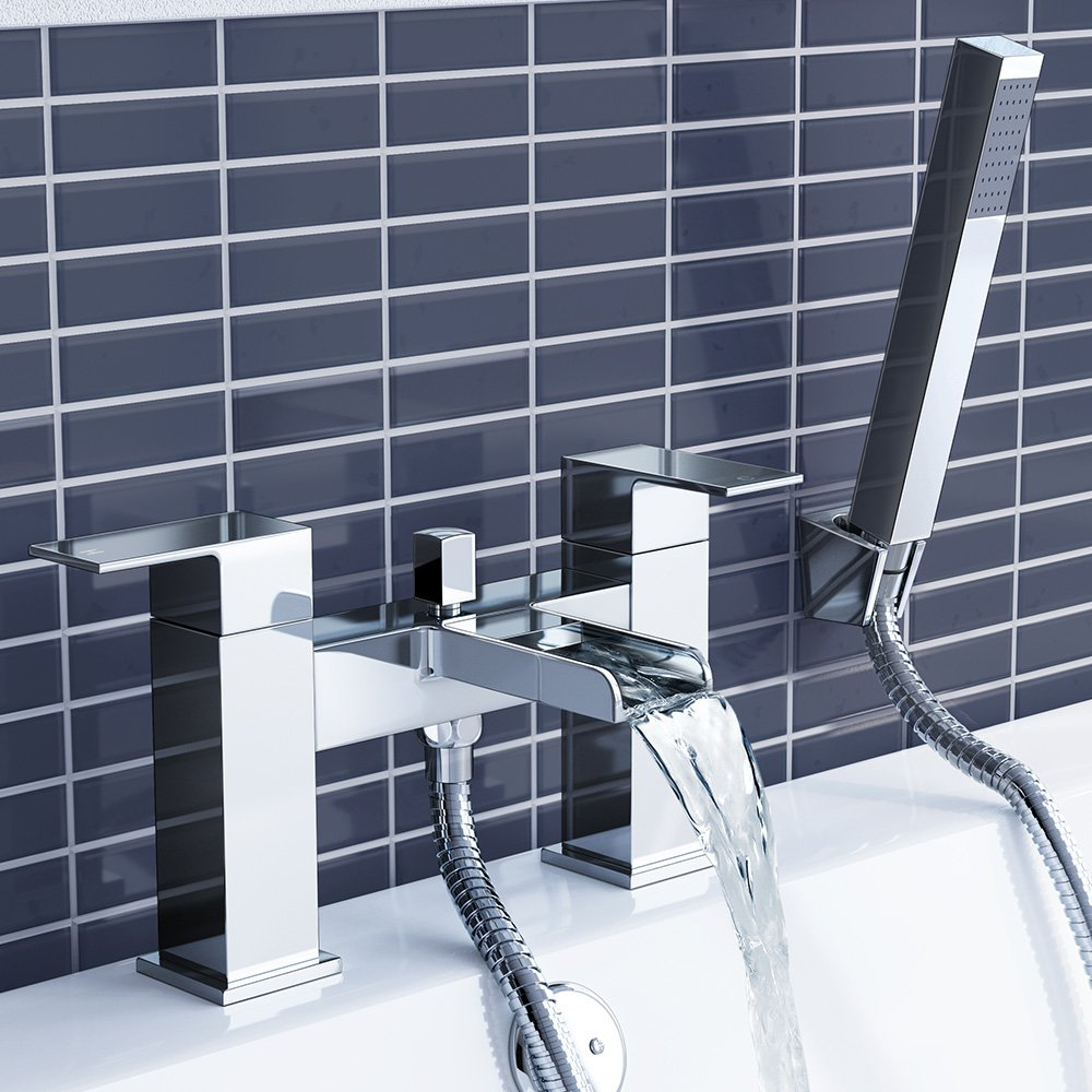 iBathUK Chrome Waterfall Basin Sink Mixer Tap + Bath Tub Filler ...