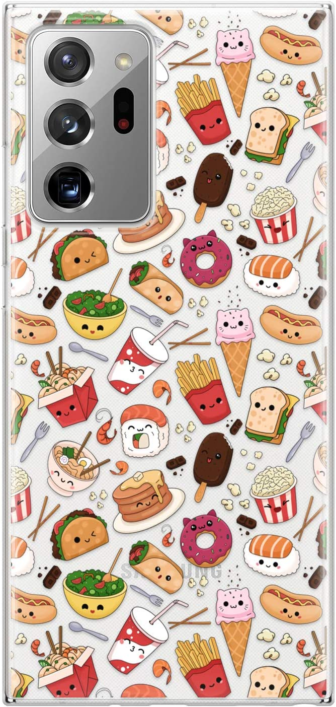 Lex Altern Case Compatible with Samsung Galaxy S21 Note 20 Plus S20 Ultra S10 5G 9 Clear Silicone Donut Slim Cute Food Sushi Kawaii Cartoon Fries TPU Lightweight Flexible Protective Cover Taco phh109