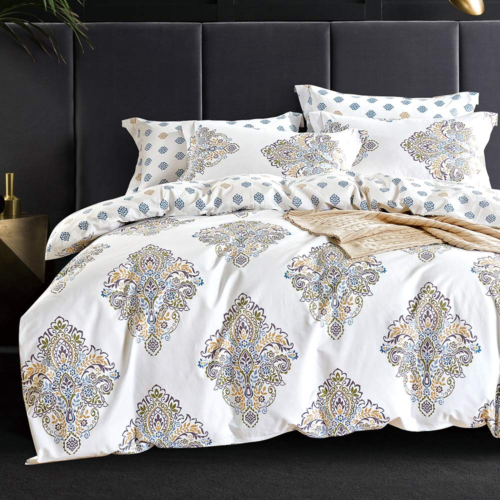 Mivedia Collection Duvet Cover King Premium Cotton Damask Duvet Cover Set Covers with Zipper Closure Ultra Soft Breathable 3-Piece Kids Boys Bedding Set King by Mivedia Collection