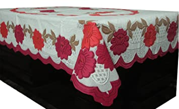 e477d6ef284 Image Unavailable. Image not available for. Colour  Kuber Industries™ Center  Table Cover White   Pink Cloth Net for 4 Seater 40