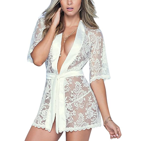 Gusspower Mujer Sexy Lencería Kimono Larga Encaje Tul Cordón Batas Camisón Dormir Transparente Malla: Amazon.es: Ropa y accesorios