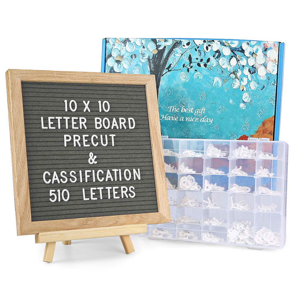 Felt Letter Board with Letters - 510 Pre Cut Letters Already Classified According to A~Z 0~9 Symbol Emojis, 10X10 Letter Board Message Board Letter Sign with Stand +Sorting Tray +Wall Mount +Gift Box. Obliviscar