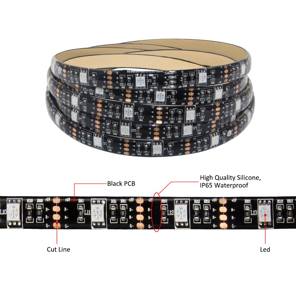 Led Strip Lights Battery Powered USB Operated TV Backlight 2 in 1,abtong Led Lights Strip with RF Remote RGB Led Strip Rope Lights Waterproof Led Strip Lighting-2M/6.56ft