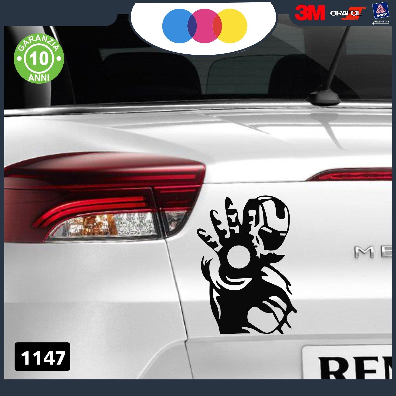 dise/ño de IRON MAN-Tama/ño 20 x 12 cm-Color de elecci/ón negro Pegatina para coche
