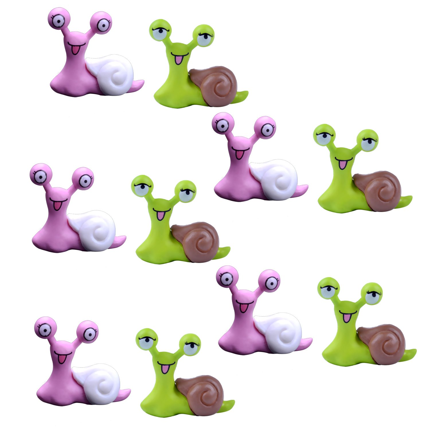 BronaGrand 10pcs Garden Ornament Miniature Snail Figurine Resin Craft Fairy Dollhouse Decor Bonsai Plant Decoration