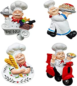 fzbali Italian Fat Chef Fridge Magnets Set of 4, Cute Chef Figurine Statue Decorations for Home Kitchen Restaurant, Funny 3D Resin Baker Refrigerator Decors Accessories