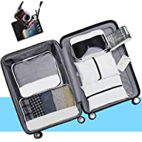 Travel Packing Cubes, 5 Pack Sports Soft Waterproof Luggage Packing Organizers, Easy to Dry, White
