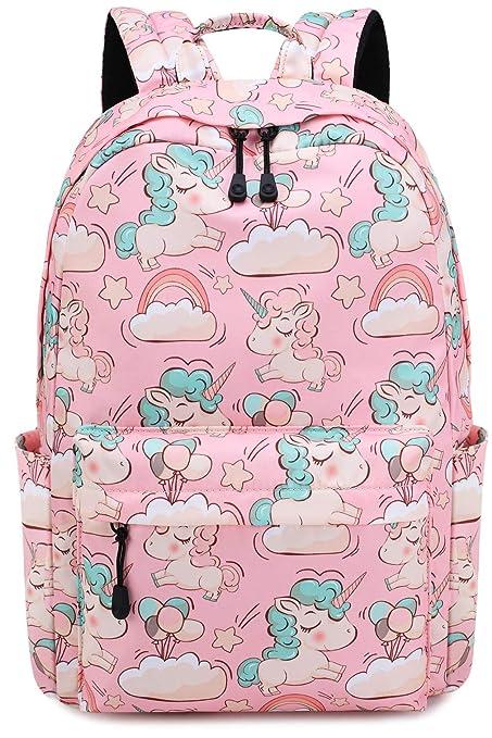 Mochila para niñas Bolso Escolar Unicornio Niños Lindos Ligero Escuela Secundaria Intermedia Bolsas de Libros con Estuche de lápices (1-Rosa)