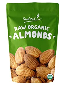Organic Almonds, 2 Pounds - Non-GMO, Kosher, No Shell, Whole, Unpasteurized, Unsalted, Raw, Bulk