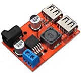 Icstation LM2596 DC to DC Voltage Regulator Dual USB Charger Step Down Power Supply Buck Converter 6-40V to 5V 3A DC 5.5X2.1mm Port
