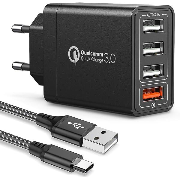 Amoner Cargador USB de Pared con 3 Puertos Cargador USB 3A ...