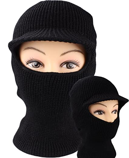 fc228923096 Image Unavailable. Image not available for. Color  Black Knit One Hole Ski  Face Mask with Visor ...