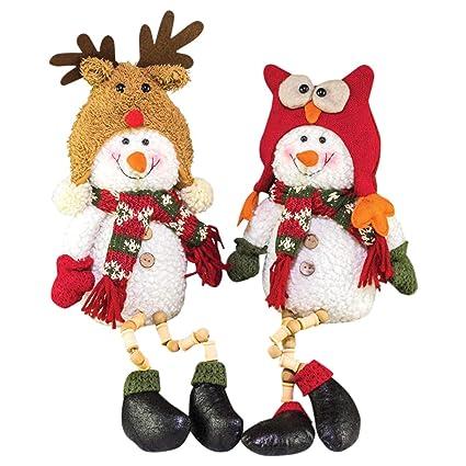 Hannas Handiworks Winter Cap Snowman Button Leg Festive  Fabric Christmas Figurines Set Of