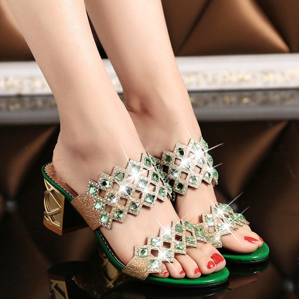 XING GUANG Damenschuhe Neue Sommer-Ausschnitt Frauen Hausschuhe Mittlere Ferse Sandalen Korean Strass Fancy Diamond Frauen Hausschuhe,Green(38)  Green(38)