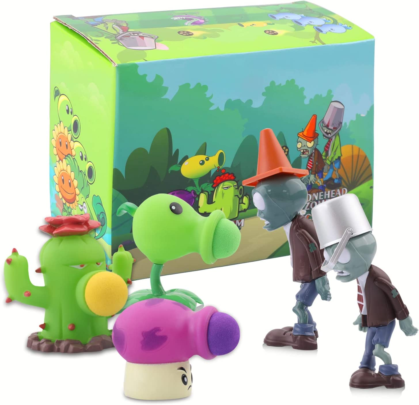 Maikerry 5 PCS Plants vs. Zombies 2 Series Toys Doll Characters Soft Vinyl Hard Plastic can Launch Figures,Great Gifts for Kids and Fans,Birthday and Christmas Party