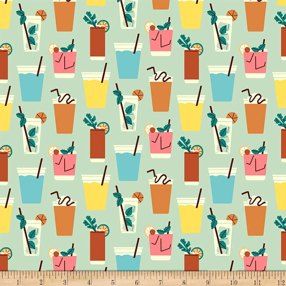 Fabri-Quilt Studios Food Truck Beverages Sea Green, Fabric by the Yard