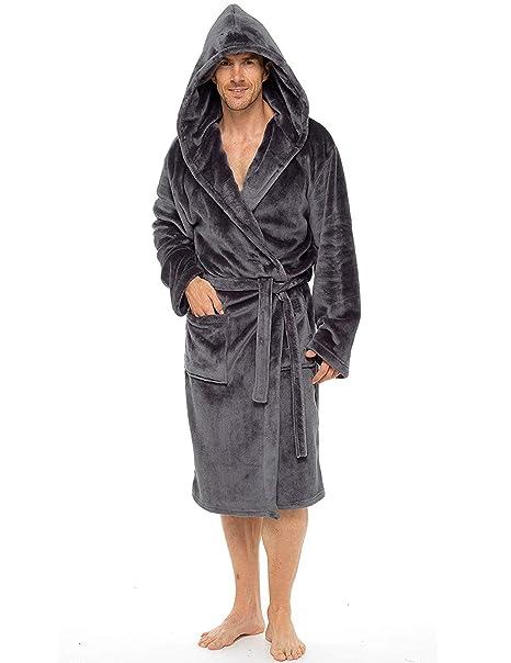 De lujo para hombre con capucha albornoz suave polar bata albornoz albornoz con detalle de pelo