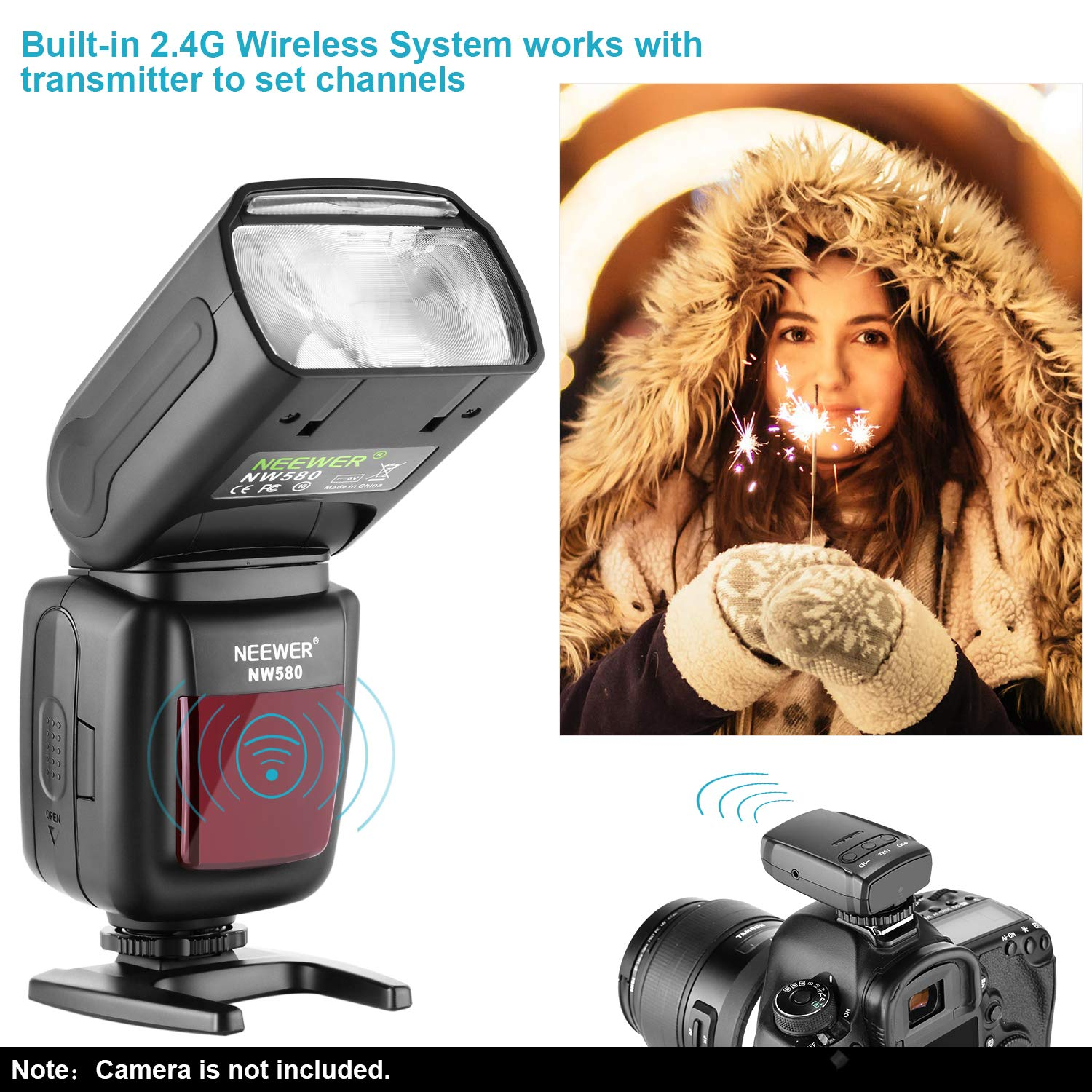 NW580 Neewer Wireless Flash Speedlite for Canon Nikon Sony Panasonic Olympus Fujifilm and Other DSLR Cameras with Standard Hot Shoe with LCD Display 2.4G Wireless System and 15 Channel Transmitter