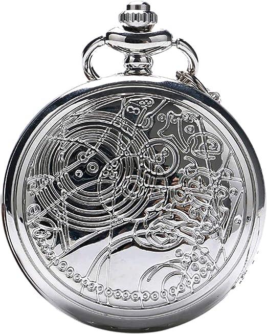 Amazon.com: Reloj de bolsillo de cuarzo con cadena y caja de ...