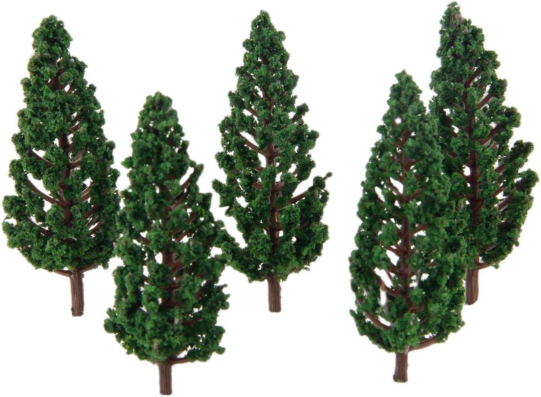 Yetaha 50pcs Model Trees Model Trains Scenery 8cm Pine Plastic Model Trees for OO HO Scale Landscape Architecture Scenery