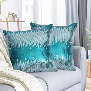 Juya Delight Sequin Throw Pillowcases Teal and Silver Sparkle Pillow Cushion Covers for Couch Sofa Home Decor,18x18 inches, Set of 2