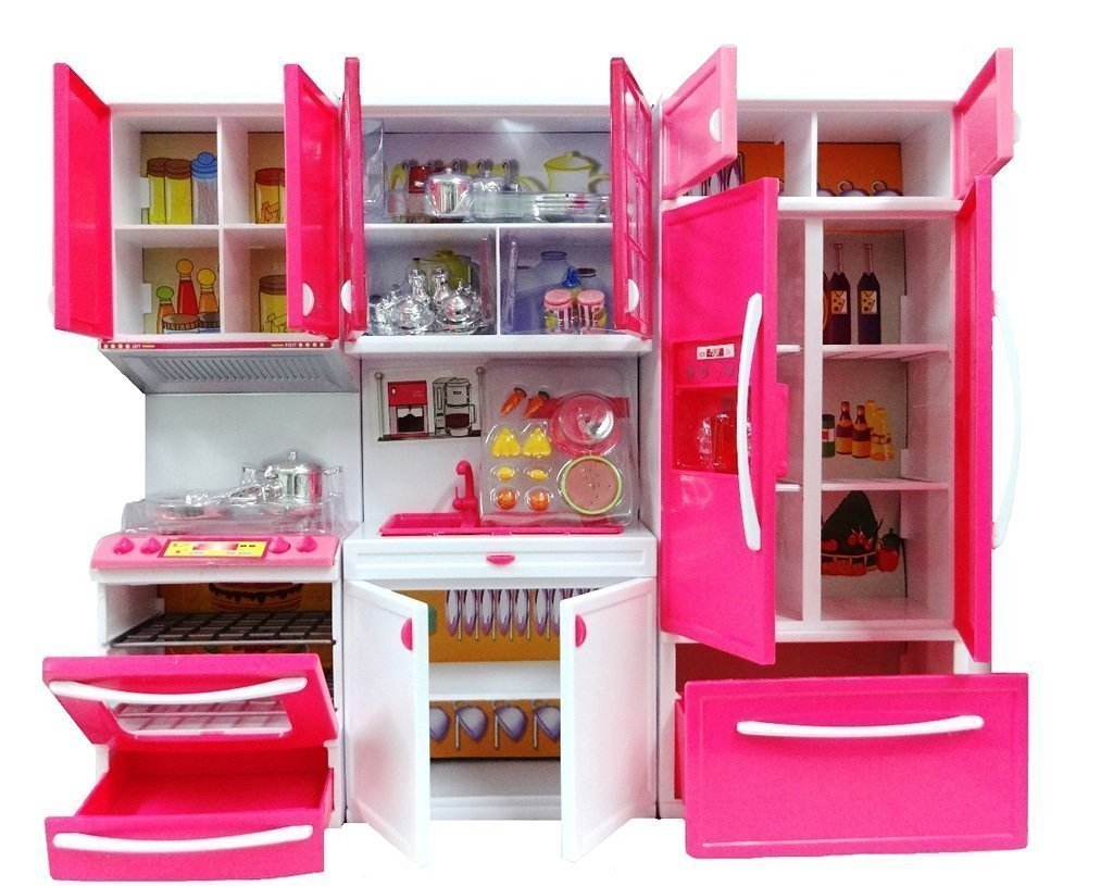 Buy vbe dhawani battery operated kitchen play set with refrigerator accessories fruits music and lights pink online at low prices in india amazon in