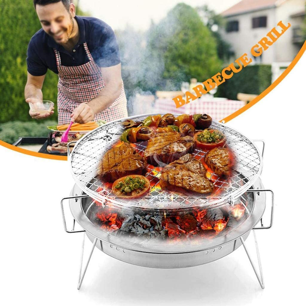 KAISIMYS Portable Barbecue en Acier Inoxydable Grill Amovible Grand et Petit Barbecue Grill Portable Barbecue Grill Mini Pocket Barbecue Grill (Couleur: A) A