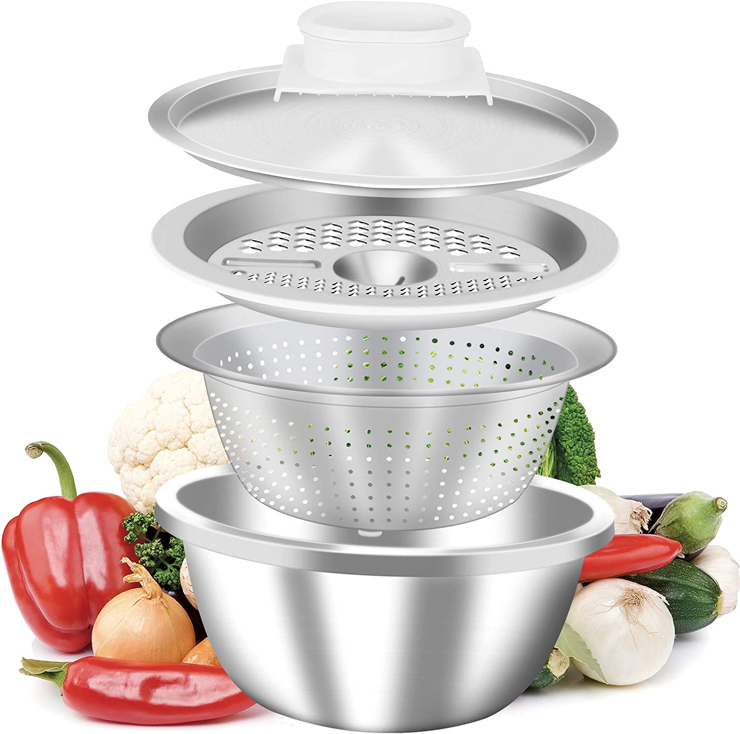Q.ôôbitons Multifunctional Stainless Steel Basin -Drain Basket Vegetable With Cutter - 3 In 1 Kitchen Multipurpose Julienne Grater - Mesh Strainer Washing Vegetables Fruit