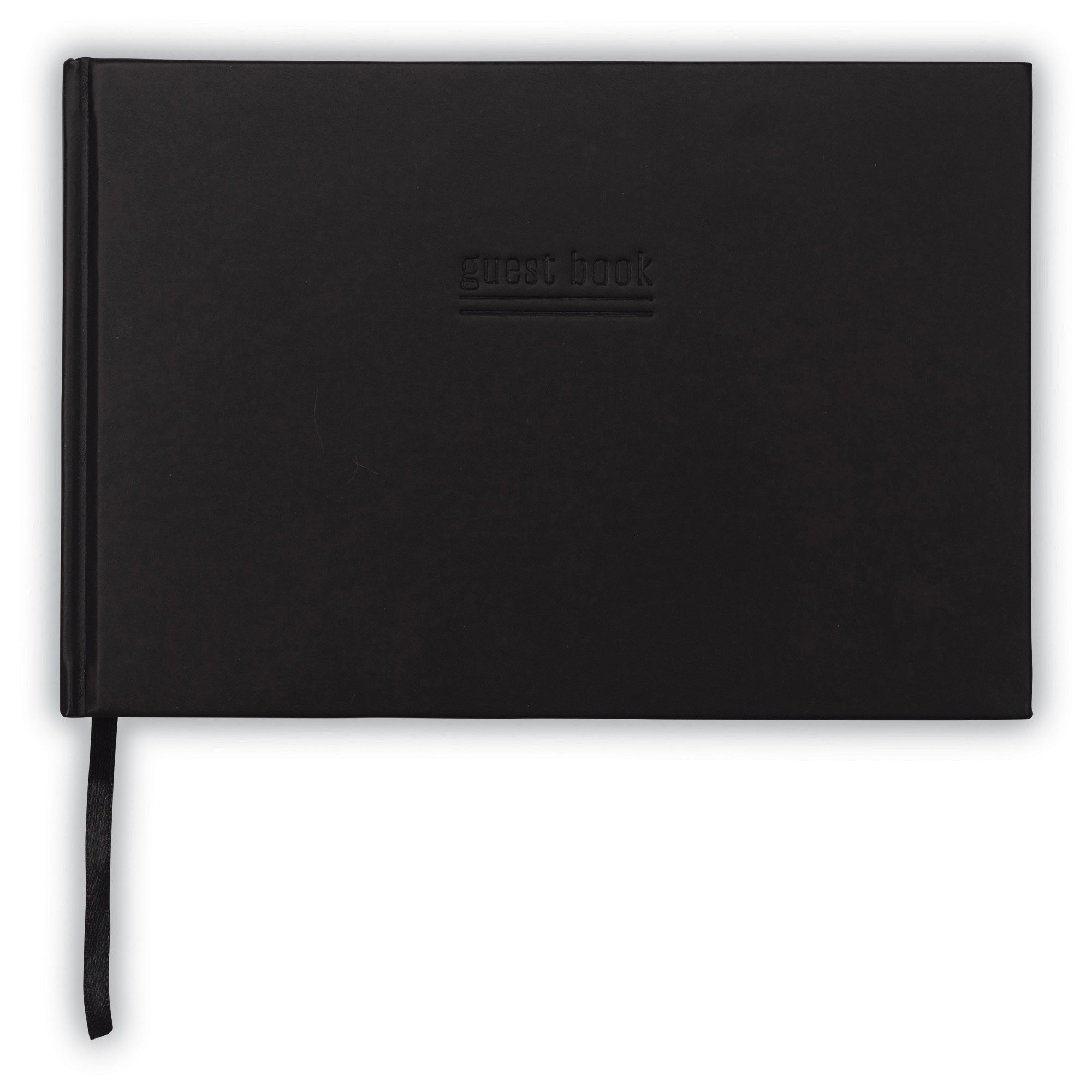 Black Guest Book – Hardcover Guest Book - 9'' x 6'' Guest Book with Debossed 'Guests' Cover – Registry Book– Registration Book