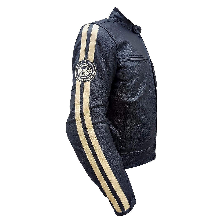 Taglie XS stile vintage completo di Protezioni CE nero, L Gilet termico rimovibile colore Nero-Bianco BIESSE sfoderatile 4XL Giacca in pelle MOTO Racing//Touring